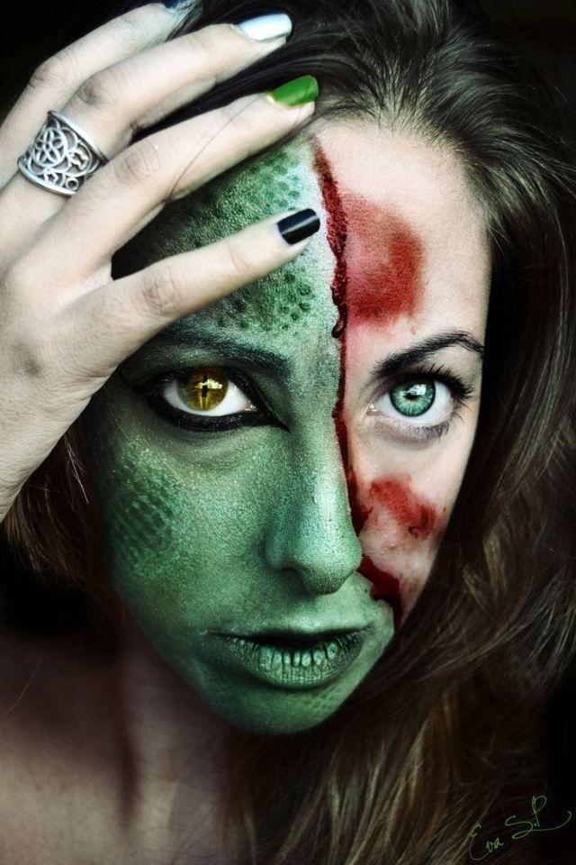 idee halloween schminke frauen grüne schlange gelbe augenlinse