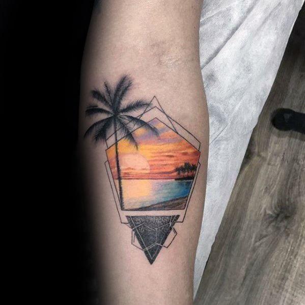 40 Small Beach Tattoos For Men Seashore Design Ideas Man Style