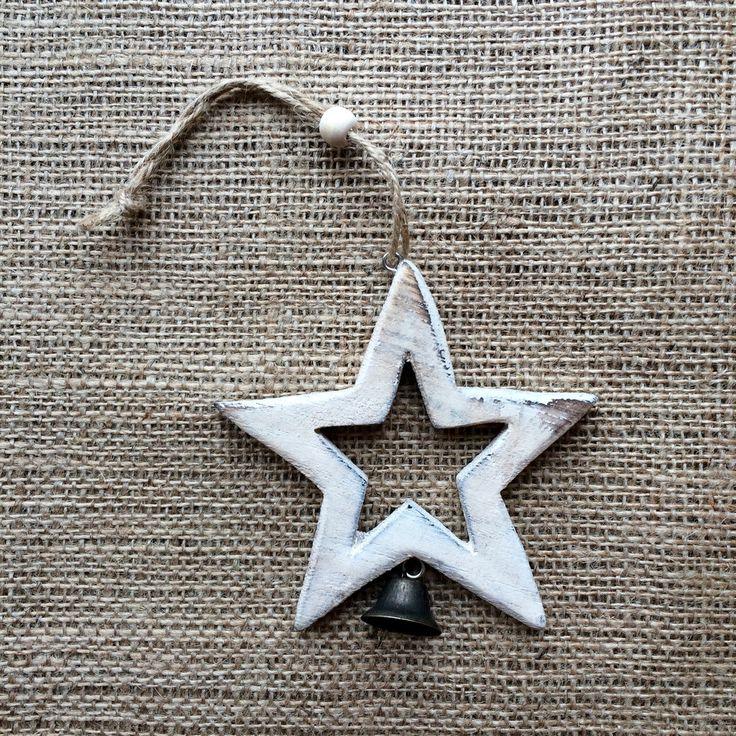 Christmas Decoration - Vintage White Star & Bell