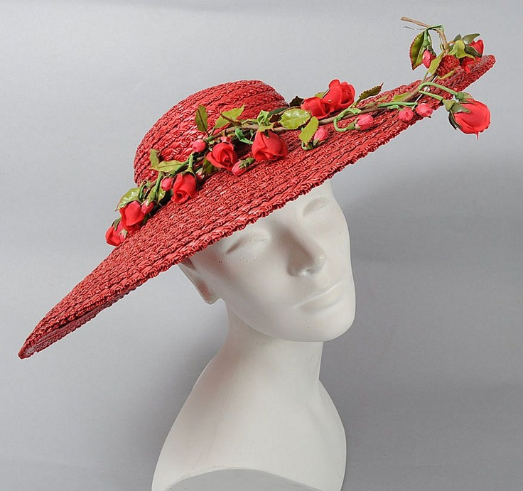Showstopper 1930's Red Straw Cartwheel Hat *Removable Flowers - Found on Ruby Lane