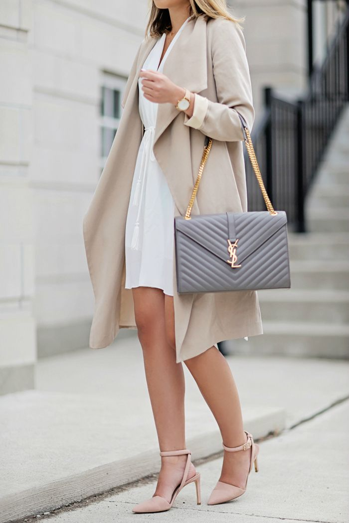 Dress: Aritzia // Coat: Club Monaco (similar) // Bag: Saint Laurent // Shoes: 424 Fifth Sunglasses: Urban Outfitters // Watch:...