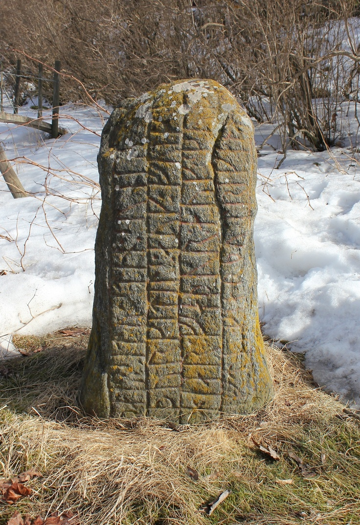 This stone is perhaps the oldest Viking rune stone found in Södermanland. The vertical rune lines and the lack of ornamentation tells that this is an early inscription. The stone is from the second half of the 900s. The rune stone was actually found inside a burial mound in 1856. It has probably been placed on the top of the grave in the beginning, but over the passing 800 years since it was raised, it seems to slowly have been sunken into the ground and hidden by the growing grass.