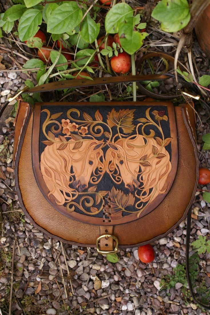 Horse, flowers, and vines. Hand carved leather purse - Skyravenwolf