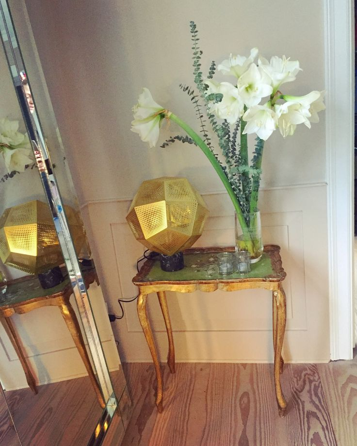 The antique gold table with a classic Tom Dixon #tomdixon #goldtable