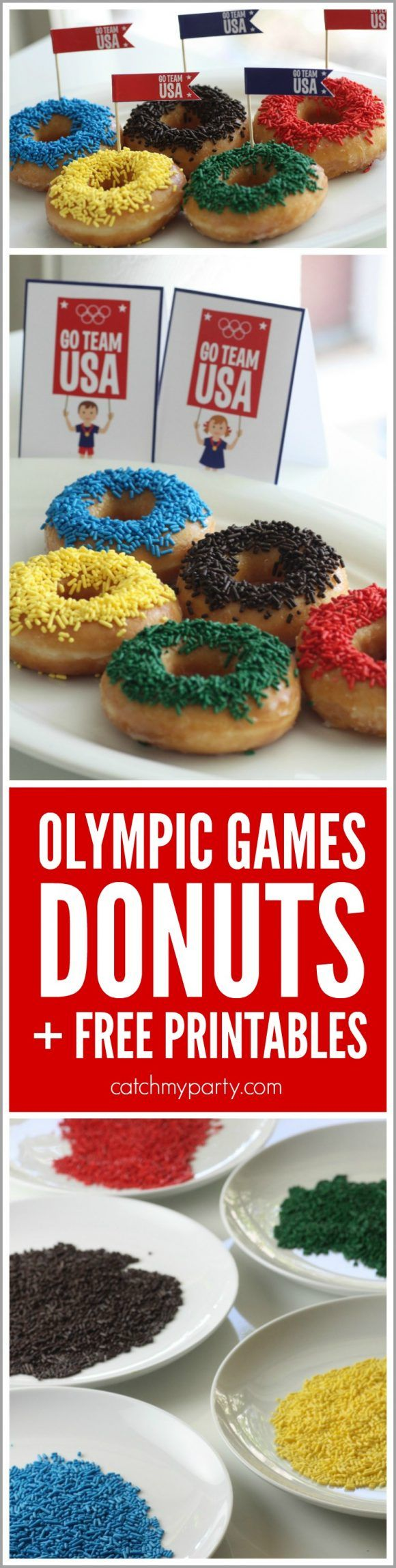 How cute are the Olympic Games donuts! Learn to make them, then clean them up with one sheet of @bounty! Great for your Olympics parties! | CatchMyParty.com #quicktips #ad#