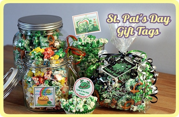 St. Patrick's Day popcorn mix gifts with printable tags.Tags Labels, Rainbows Popcorn, Gift Ideas, Diy Gift, St Patricks Day, Gift Tags, Printables Gift, Printables Tags, Free Printables