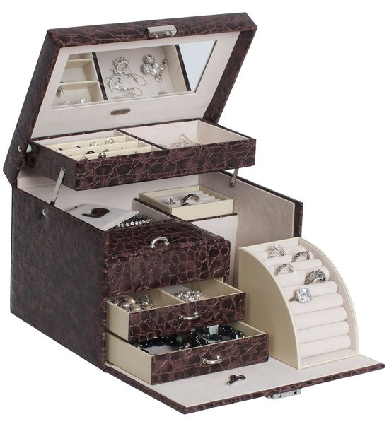 Keep your jewelry secure at home or while you travel with this Faux Leather Locking Jewelry  sc 1 st  Pinterest : faux leather jewelry boxes - Aboutintivar.Com