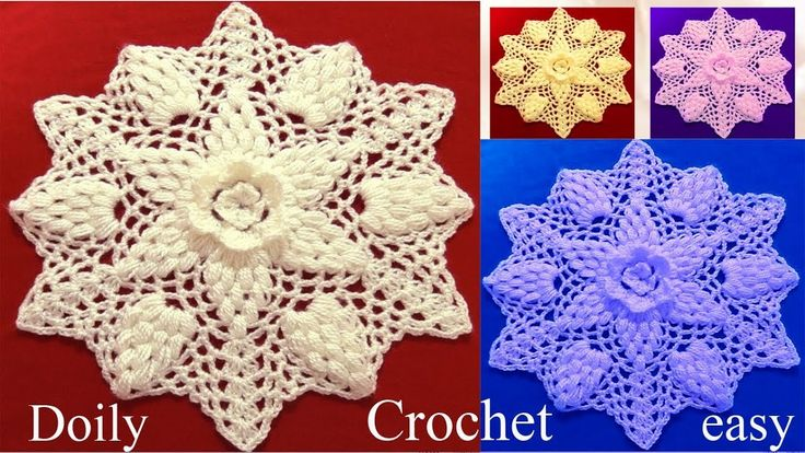 Tapete carpeta mantelito en punto piñas en relieve tejido a Crochet /doily easy English subtitles - YouTube