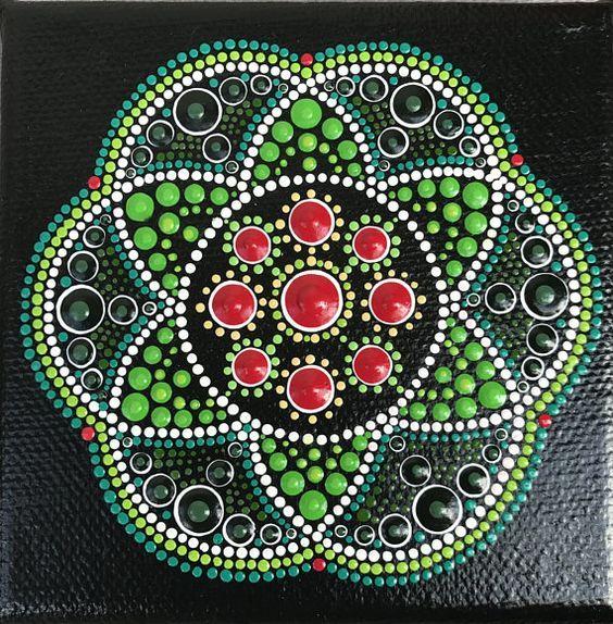 Original punto arte Mandala australiano colores de verde