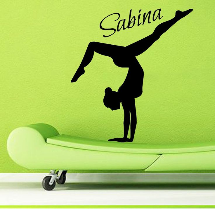 Sport Wall Decals Girl Gymnast Personalized Name Gym Interior Design Vinyl Decal Sticker Home Art Mural Kids Nursery Baby Room Decor KG783 by WallDecalswithLove on Etsy
