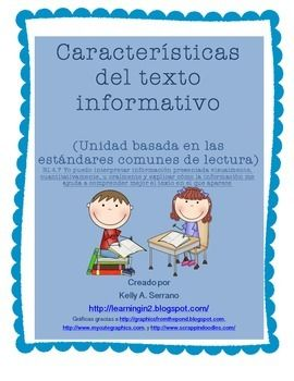 This unit has all you need to teach non fiction text features to your dual-language or Spanish students.  Entirely written in Spanish, this unit targets text features found in non-fiction texts. It is a detailed unit with all you need to make sure your students understand what text features are and what they are used for.