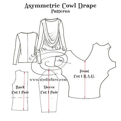 Elegant, flattering n #selfdraft. #PatternPuzzl -Asymmetric Cowl Drape http://www.studiofaro.com/well-suited/pattern-puzzle-asymmetric-cowl-drape Use any tee shirt. :)