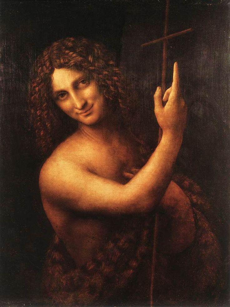 "Leonardo Da Vinci: ""St John the Baptist."" doing the ""John gesture!"" I love this painting."