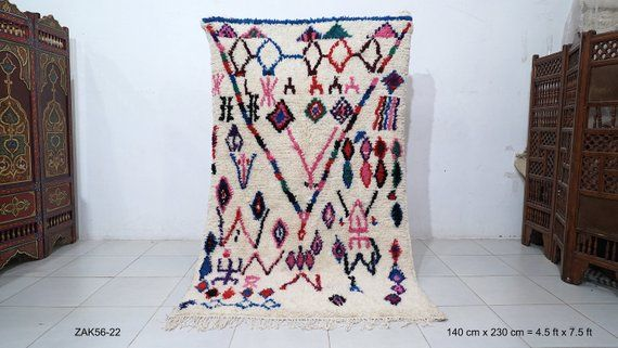 Tapis Azilal 4 5ft X 7 5ft Tapis Colore Tapis Marocain De Cru Tapis Berbere De Laine Tapis Fait Main Tapis De Beni Ourain Tapis De Laine Tout Tapis De L Avec Images