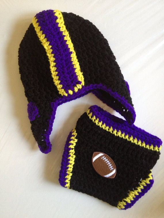 Baltimore Ravens Football Crochet Baby Helmet Hat Gift Set on Etsy, $26.00