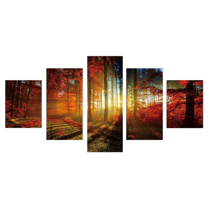 5 Panel Pictures Five Landscape Of Maple Forest Canvas Oil Painting