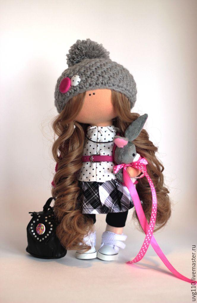 Купить Интерьерная куколка - фуксия, розовый, белый, серый, горошек, клетка…