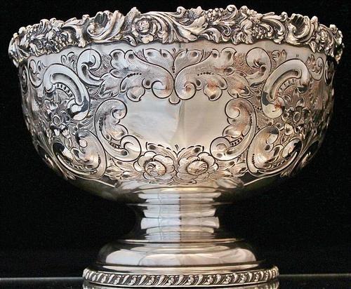$225 Repousse Barker Ellis Sterling Silver Plate Punch Rose Bowl
