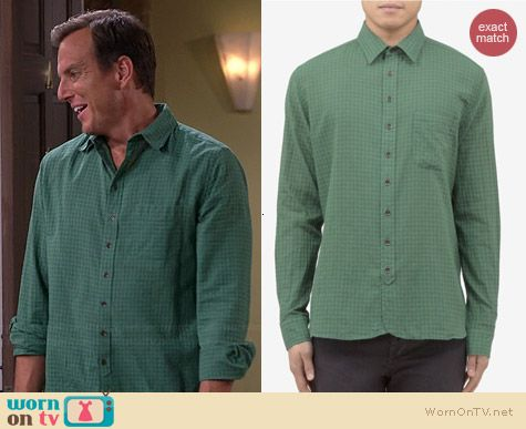 Nathan's green check shirt on The Millers.  Outfit Details: http://wornontv.net/38722/ #TheMillers