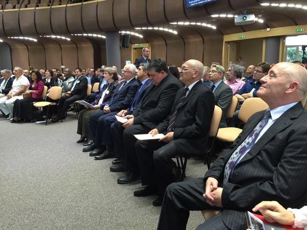 Opening session for the 2015 European Baptist Federation council meeting in Sofia, Bulgaria. EBF general secretary Tony Peck (left middle), Bulgarian president, Rosen Plevnaliev (center) and EBF president Otniel Bunaciu (right middle). Photo by Nabil Costa.