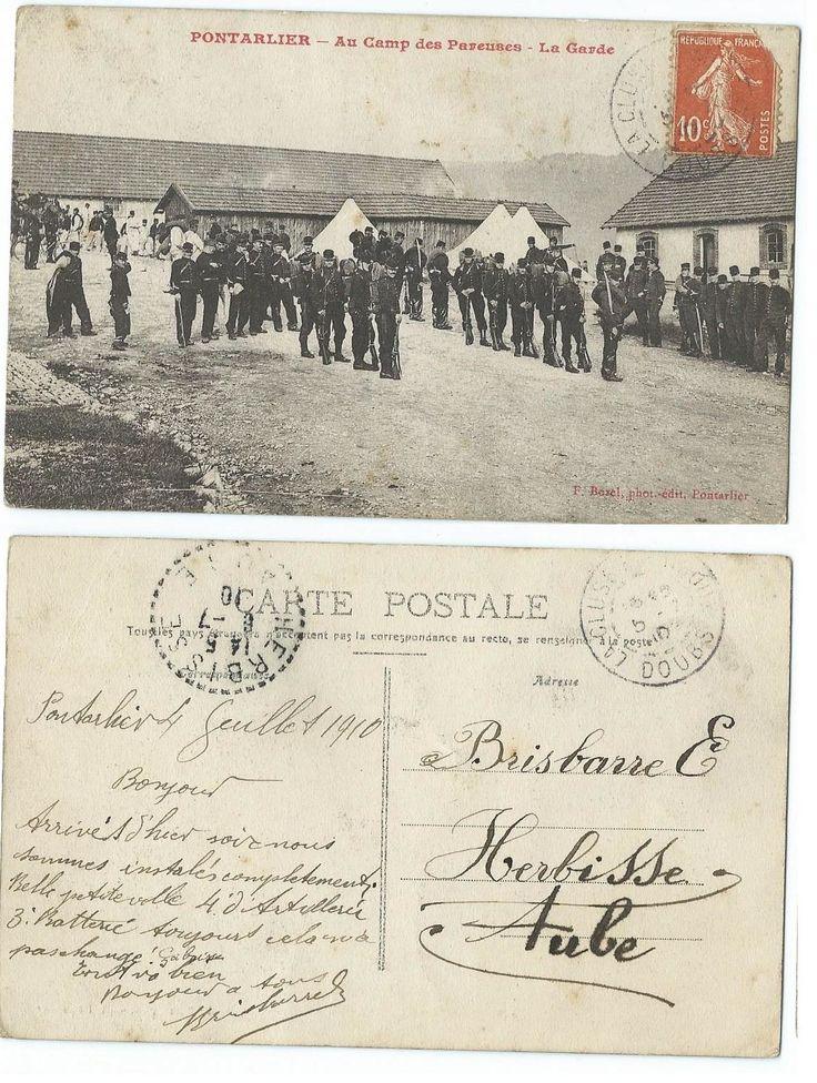 Correspondance du 4 juillet 1910 entre Brisbarre Georges et ses parents. La Ville de Pontarlier dans le Doubs est venue suite à la création du Champ de Tir en 1878 une ville de garnison importante jusqu'à la Grande Guerre. Il y avait différents Régiments...