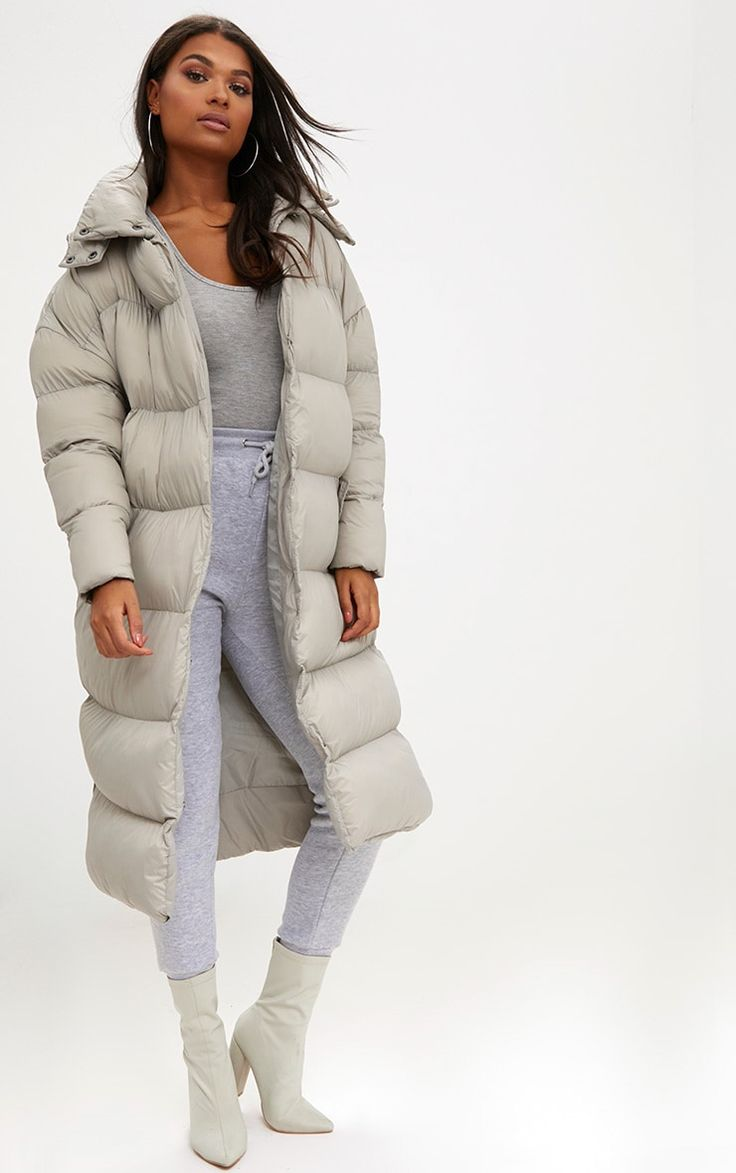 Taupe Oversized Longline Puffer Jacket with Hood