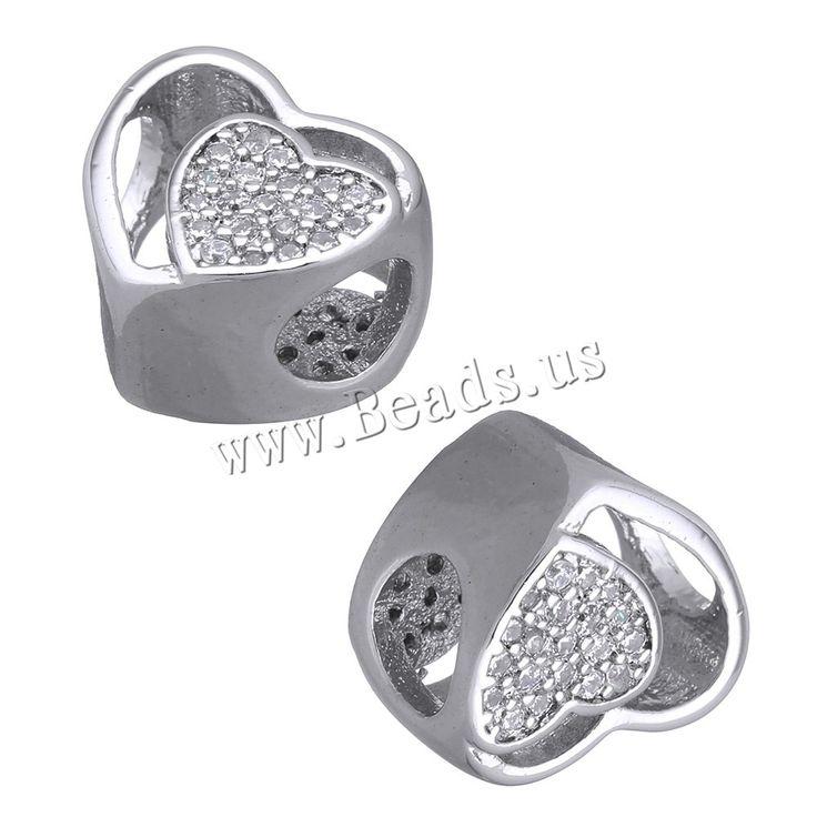 Cubic Zirconia Micro Pave Brass European Bead, Heart, platinum plated, micro pave cubic zirconia & without troll, nickel, lead & cadmium free