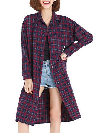 Only US$30.99 , shop Casual Women Plaid Long Sleeve Turn-Down Loose Shirt Dress at Banggood.com. Buy fashion Vintage Dresses online.