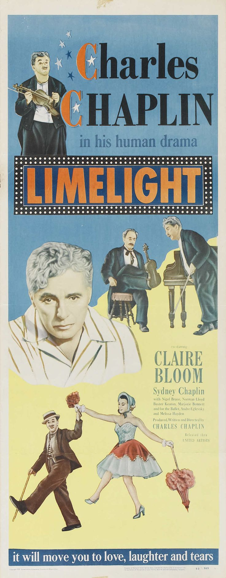 """Limelight"" (1952). Country: United States. Director: Charles Chaplin. (B&W). Cast: Charles Chaplin, Claire Bloom, Nigel Bruce, Sydney Chaplin, Norman Lloyd, Buster Keaton, Melissa Hayden"