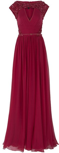 Kind of in love with this dress. Chiffon Beaded Cap Sleeve Gown