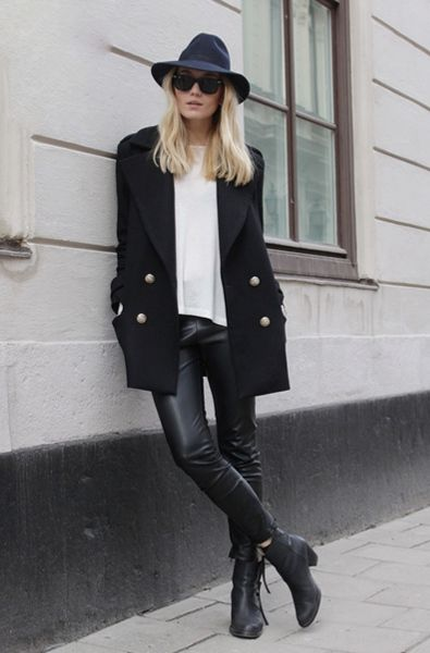 black blazer, leather pants, white tee | HarperandHarley