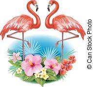 exotique, fleurs,  flamingoes,  Arrangement