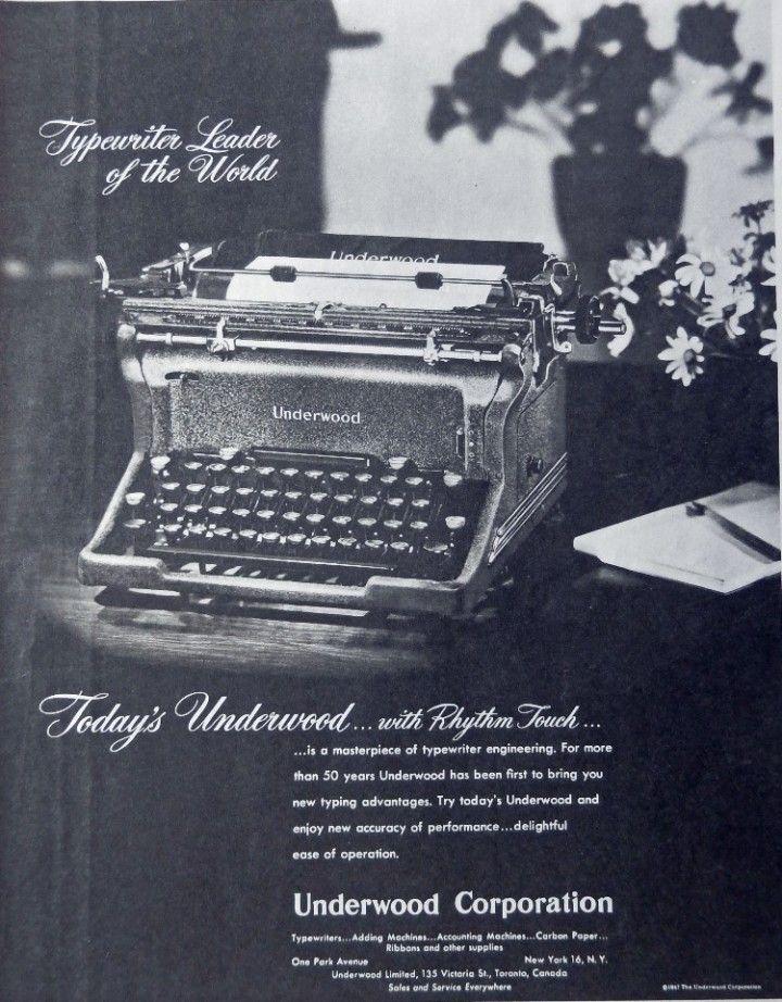 Underwood Typewriter  Print Ad with Rhythm Touch  Original 1947 Collier s Magazine Print art