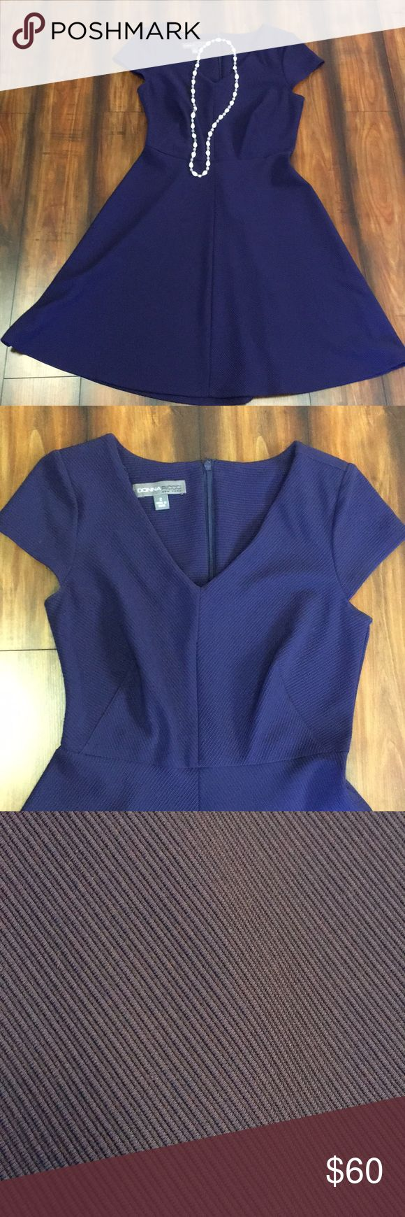Donna Ricco dress EUC. Please see pics. Purple blue color. Beautiful. Soft ribbed material. Donna Ricco Dresses