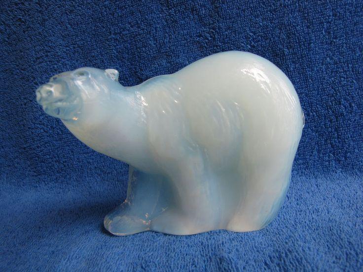 Sweden Reijmyre Paul Hoff glass polar arctic bear figurine WWF animal white blue #Reijmyre #PaulHoff