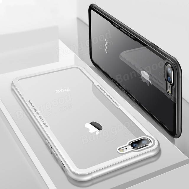 Bakeey™ Tempered Glass Clear Back TPU Frame Case for iPhone X/7/8 Plus Sale - Banggood.com