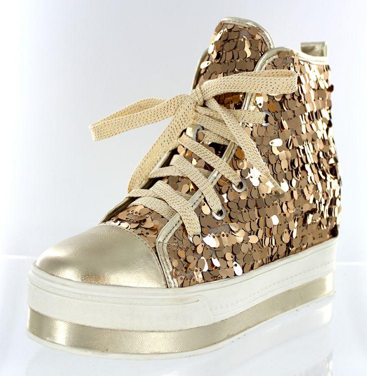 Helens Heart Gold Sequins High Top Platform Sneakers -9667