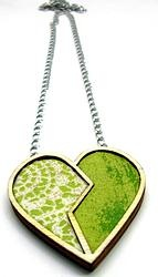 Not only for Valentine's Day heart pendant - green by Andrea Macsar http://www.h-art.com.au/#!necklaces/c1y06