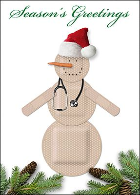 Wrap up a great year with a note of thanks and warm holiday wishes sent to staff and patients using personalized nurse holiday cards. Featuring a festive bandaid snowman, our nurse holiday cards offer Season's Greetings and so much more.