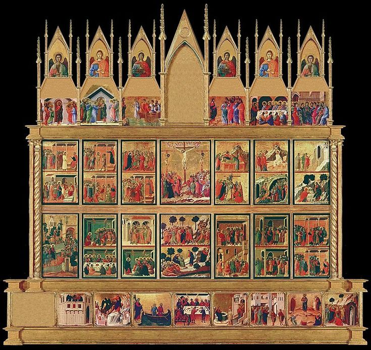 The Maestà, or Maestà o Duccio  - reverse - is an altarpiece composed of many individual paintings commissioned by the city of Siena in 1308 from the artist Duccio di Buoninsegna