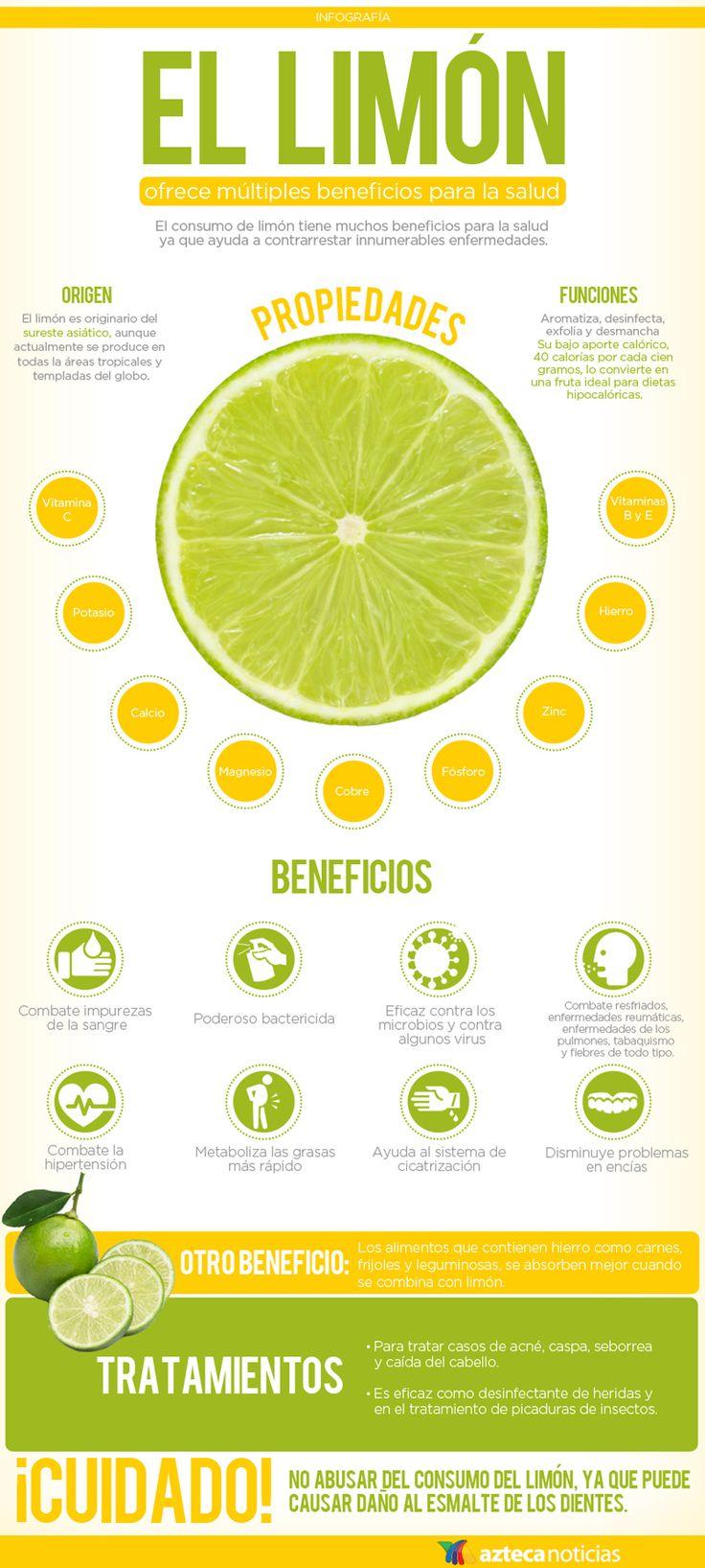 El limón ofrece múltiples beneficios para la salud #infografia