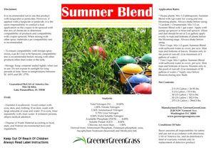 Summer Blend Organic Lawn Fertilizer Label