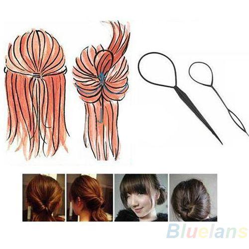2 unids Womens Girls Topsy Tail Pelo Trenzado Herramienta de la cola de Caballo Hacedor Styling Tool Hairwrap smt 101