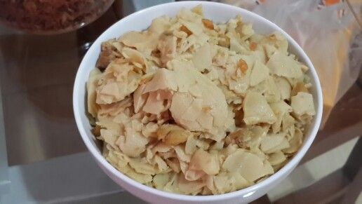 Stir fried bamboo shoots with meat n dried shrimps