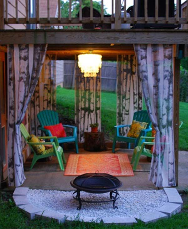 Hang curtains to create an ambient seating area under a deck. - Top 32 DIY Fun Landscaping Ideas For Your Dream Backyard