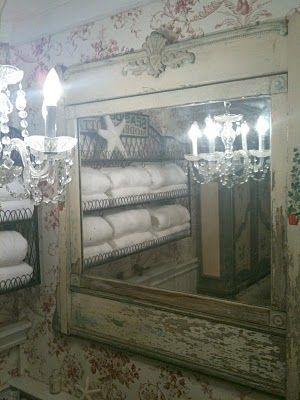 FRENCH COUNTRY COTTAGE: VINTAGE BATHROOM. Currently own:   1920's crystal chandelier and large cabinet for master bath  linen storage.