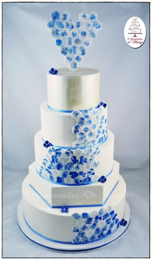 wedding cake blue and silver - Cake by Ô gourmandises de Mary