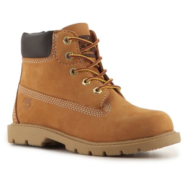 Timberland 6 Inch Boys Youth Boot ($70) ❤ liked on Polyvore featuring shoes, boots, men, boys, timberland boots, timberland footwear and timberland shoes