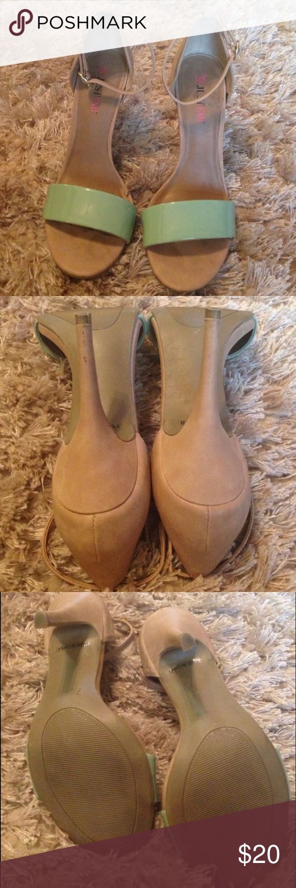 "Nude/tan/beige  4"" heels with mint toe strap Worn about 4 times from JustFab fits sizes 7-71/2 JustFab Shoes Heels"