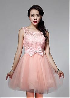 In Stock Stunning Lace & Tulle Jewel Neckline Short A-line Homecoming Dress